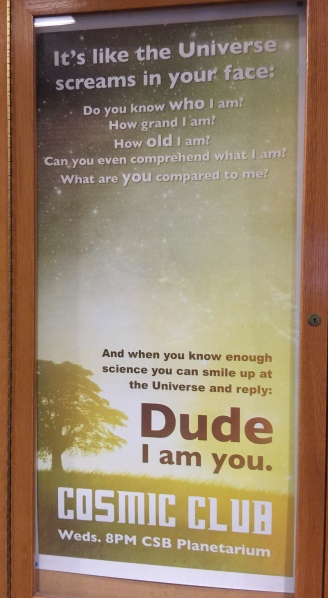 Poster outside the planetarium at SUNY New Paltz.