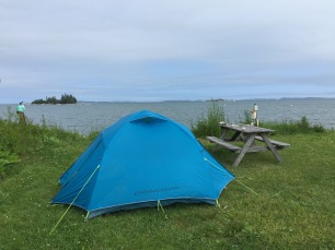Being the land lover that I am, I slept in a tent. On the ground. A few feet from the ocean.